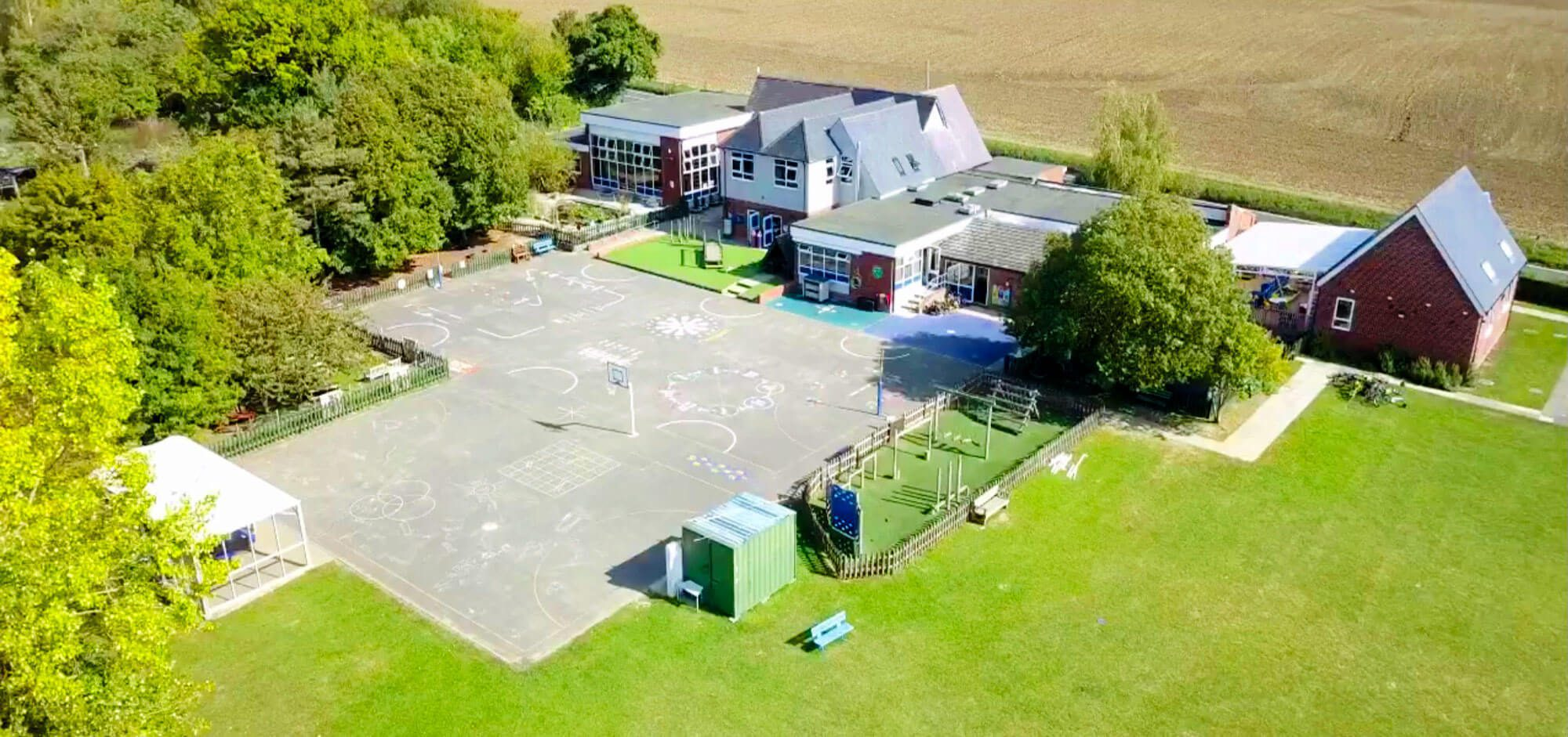 Great Easton Primary School arial view