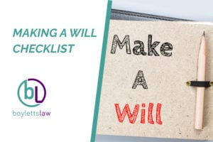 Make a will written on notepad image for make a will checklist