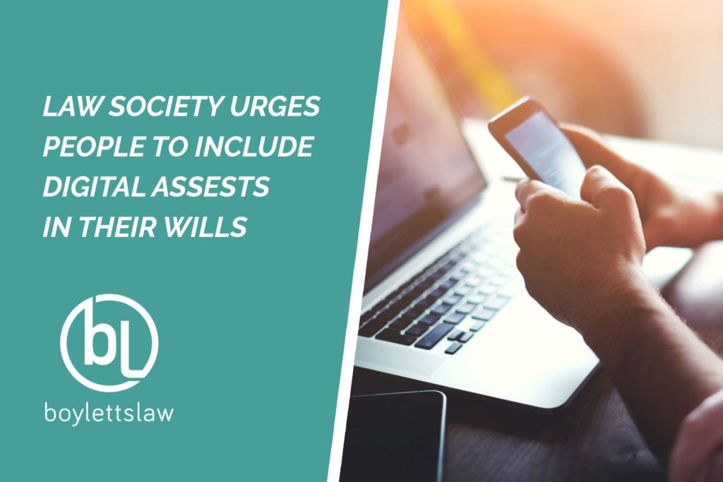 person holding a smartphone and using a laptop image for why you should include digital assets in your will blog