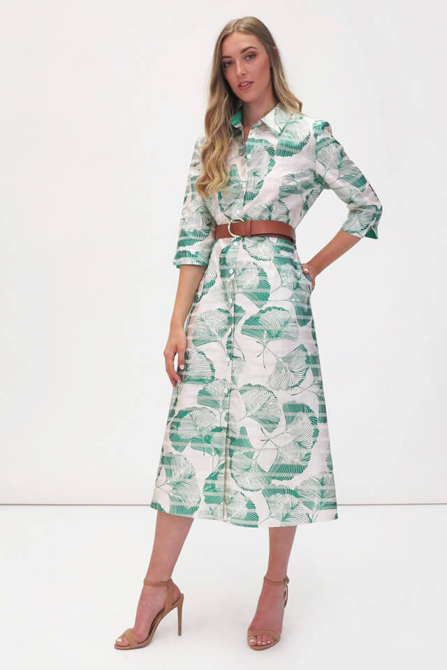 FEE G green leaf dress