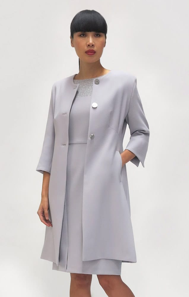 FeeG Grey Dress Coat