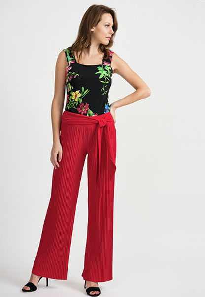 Joseph Ribkoff Red Pleated Trousers
