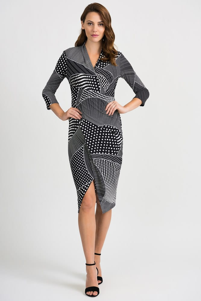 Joseph Ribkoff Black & White Spot Dress